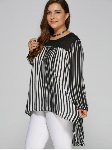 Affordable Plus Size High Low Hem Striped Blouse - 5XL WHITE AND BLACK Mobile