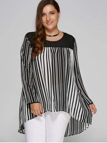 Plus Size High Low Hem Striped Blouse