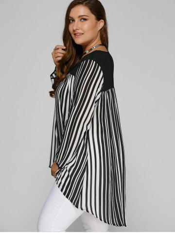 Store Plus Size High Low Hem Striped Blouse - 5XL WHITE AND BLACK Mobile