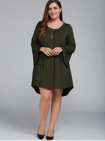 Unique Plus Size Flare Sleeve Lace-Up High Low Dress OLIVE GREEN XL