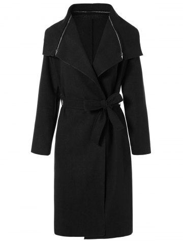 Online Zipped Belted Long Shawl Wrap Coat BLACK M