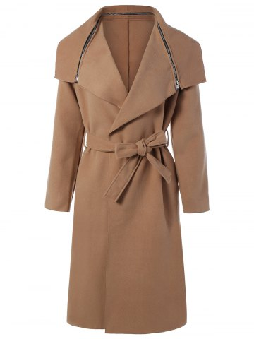 Outfit Zipped Belted Long Shawl Wrap Coat