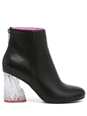 PU Leather Transparent Heel Ankle Boots - BLACK 39
