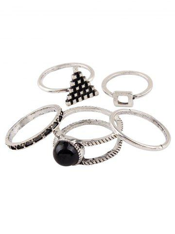 Discount Burnished Faux Gem Chic Ring Set - SILVER  Mobile