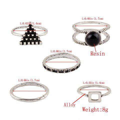 New Burnished Faux Gem Chic Ring Set - SILVER  Mobile
