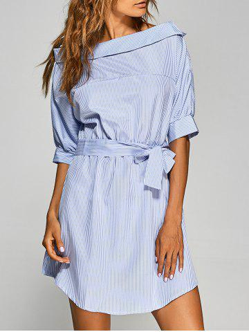 Cheap Asymmetric Neckline Belted Tunic Dress BLUE/WHITE S