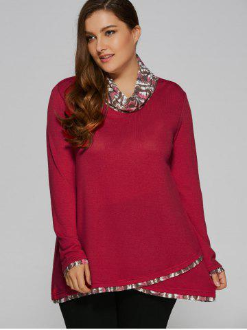 Store Plus Size Cowl Neck Overlay Blouse