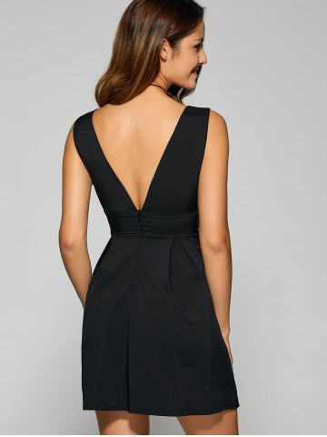 Hot Backless Embroidered Low Cut A Line Party Dress - M BLACK Mobile