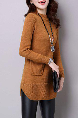 Outfits Mock Neck Woolen Slit Sweater - M BRONZE-COLORED Mobile