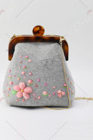 Discount Snake Chains Flowers Crossbody Bag - GRAY  Mobile