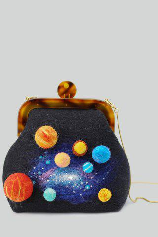 Galaxy Planet Crossbody Bag - Black