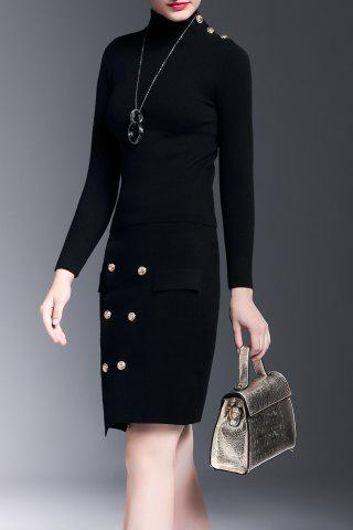 Mock Neck Sweater With Button Skirt Noir S