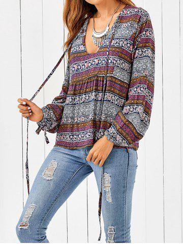 Affordable Plunging Neck Bohemian Printed Loose Blouse