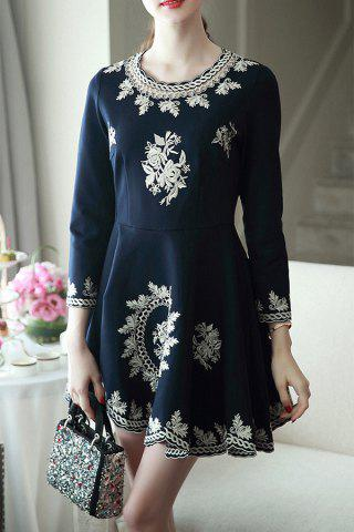 New Mini Embroidered Flare Dress