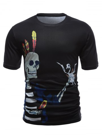 Sale Skull 3D Printed Short Sleeve Round Neck T-Shirt BLACK XL