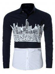 Letter Building Print Spliced Long Sleeve Shirt For Men - BLUE