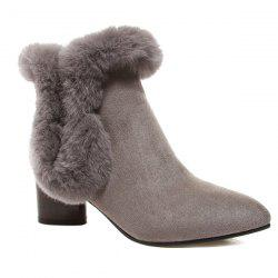 Zipper Faux Fur Pointed Toe Ankle Boots -