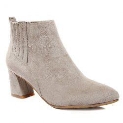Stitching Suede Pointed Toe Ankle Boots -