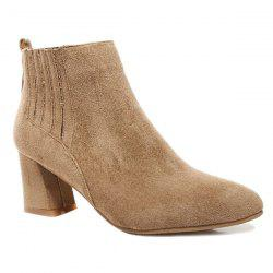 Stitching Suede Pointed Toe Ankle Boots