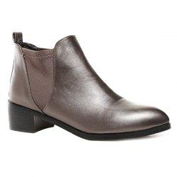Elastic Band Faux Leather Ankle Boots
