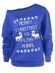 Merry Christmas Pullover Skew Neck Blue Sweatshirt