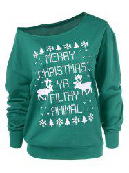 Merry Christmas Pullover Skew Neck Sweatshirt - GREEN