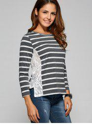 Side Slit Lace Panel Striped T-Shirt -