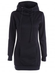 Slim Pockets Design Pullover Neck Hoodie - BLACK