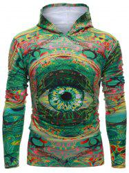Hooded Colorful Eye Print Long Sleeve Hoodie