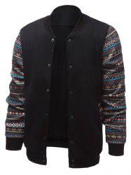 Stand Collar Ethnic Style Geometric Print Splicing Jacket