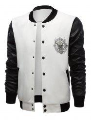 Stand Collar Skull Print Color Block PU-Leather Spliced Jacket -