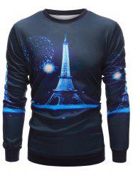 Crew Neck 3D Iron Tower Print Long Sleeve Sweatshirt