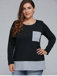 Plus Size Single Pocket Pullover - BLACK AND GREY 5XL