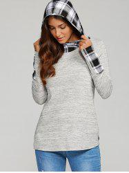 High Low Hem Plaid Trim Hoodie -