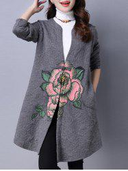 Collarless Cotton Coat With Flower Print - GRAY 2XL