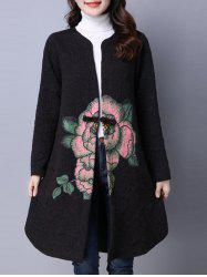 Collarless Cotton Coat With Flower Print - BLACK