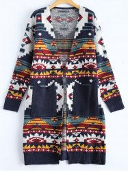 Jacquard Double Pockets Slimming Cardigan