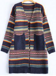 Geometric Double Pocket Cardigan