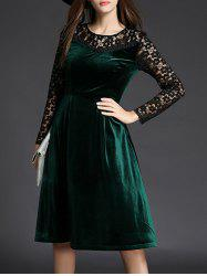 Lace Spliced Long Sleeve Fit and Flare Dress - GREEN