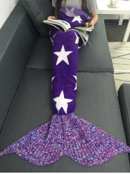 Stars Pattern Knitted Mermaid Tail Blanket -