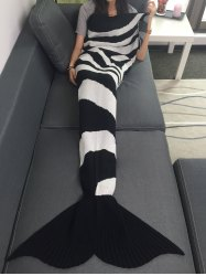 Color Block Knitted Mermaid Tail Blanket
