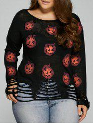 Halloween Pumpkin Cute Plus Size Sweaters - BLACK