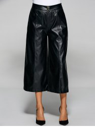 High Waisted Faxu Leather Crop Wide Leg Pants