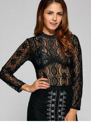 See Through Oval Lace T-Shirt -