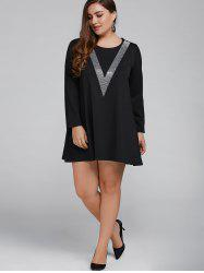 Hot Fix Rhinestone Loose Mini Dress - BLACK 5XL