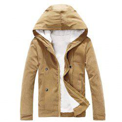 Peluche intérieur Snap bouton Zip Coat Up Hooded For Men - Camel