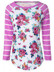Flower Print Striped Raglan Sleeves T-Shirt