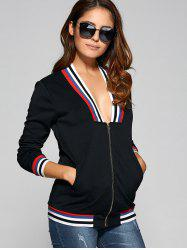 Stripe Plunge trim Neck Jacket - Noir
