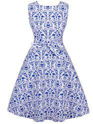 Tie-Waist Retro Print Slimming Dress