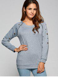 Zipper Openwork Detailed Sweatshirt - GRAY XL